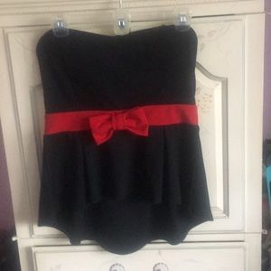 Windsor high low tube top with bow